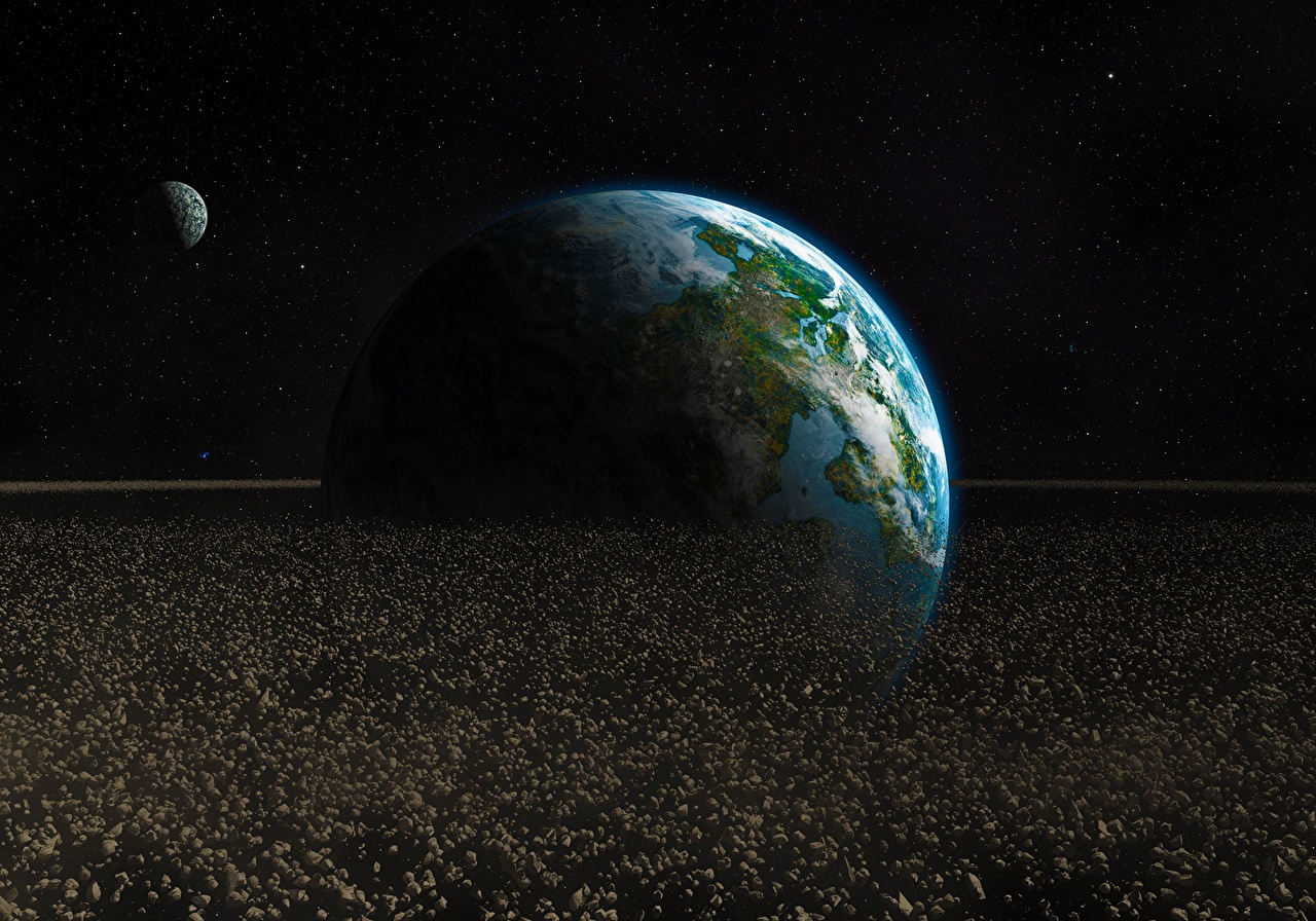 Desktop Wallpapers Earth Planets asteroid Space 3D Graphics planet Asteroids