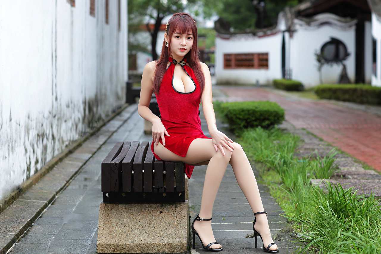 Wallpaper Redhead girl Girls Legs Asian sit Bench Glance Dress female young woman Asiatic Sitting Staring gown frock