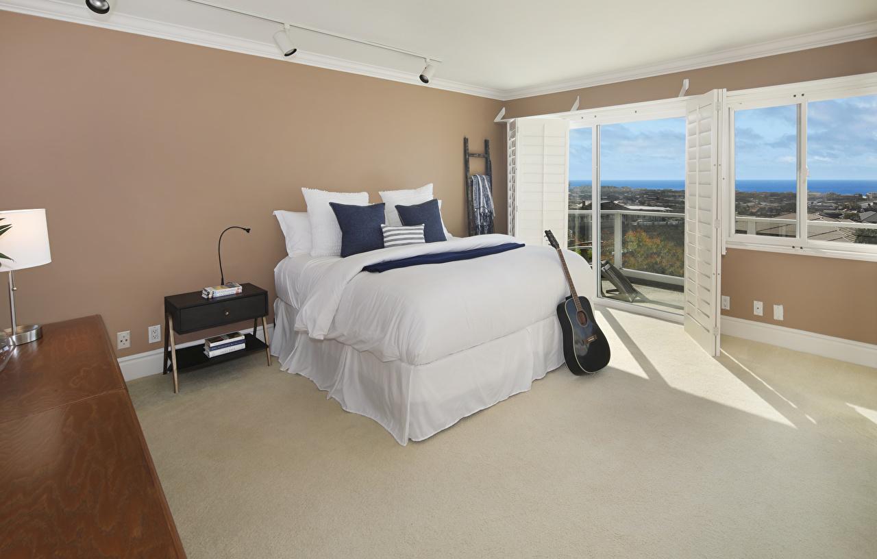 Image Guitar Bedroom Interior Bed Pillows Design