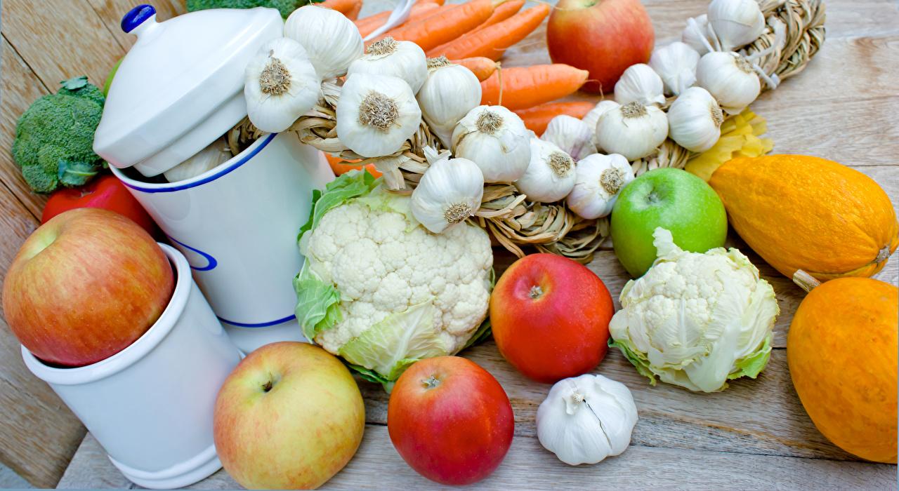 Bilder von Kürbisse Äpfel Knoblauch Gemüse Lebensmittel das Essen