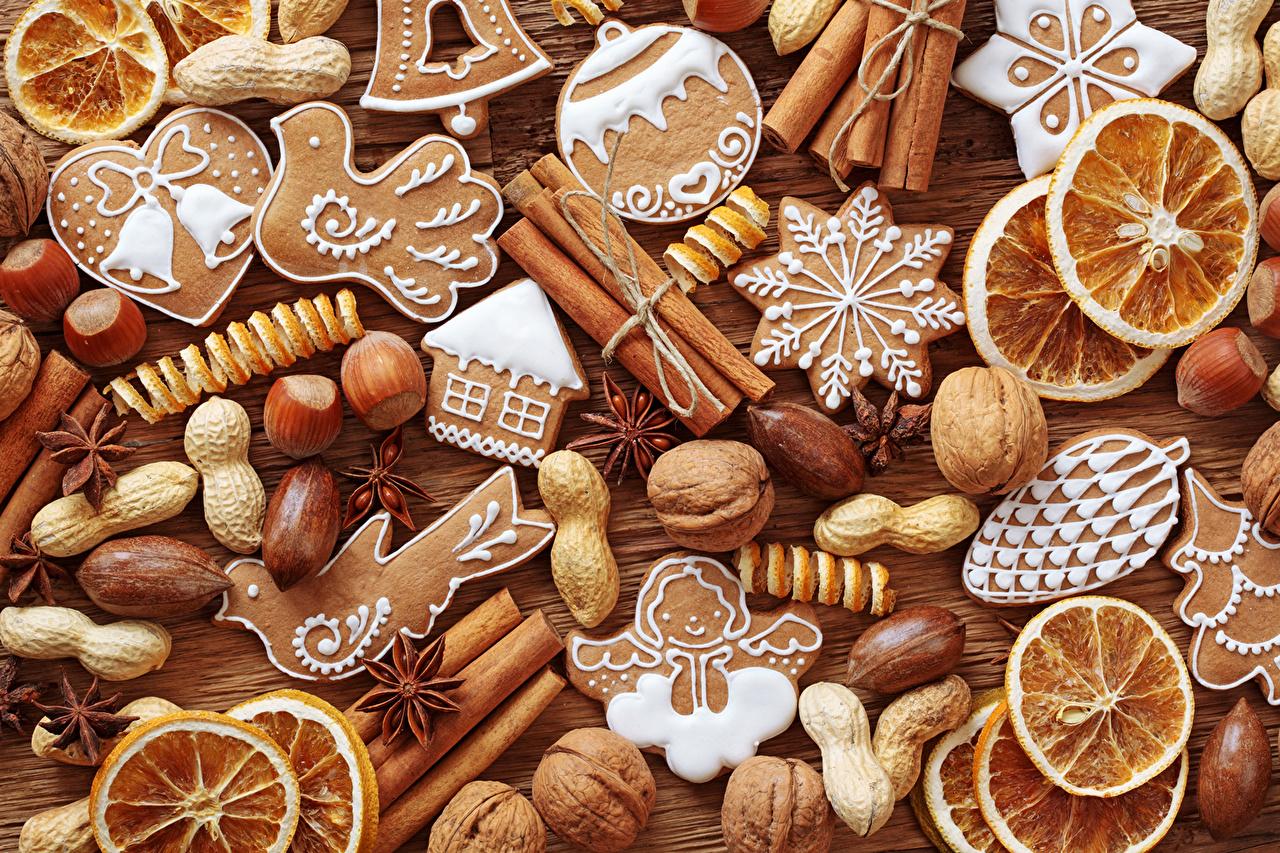 壁紙、シナモン、ナッツ、クッキー、オレンジ、食品、ダウンロード、写真