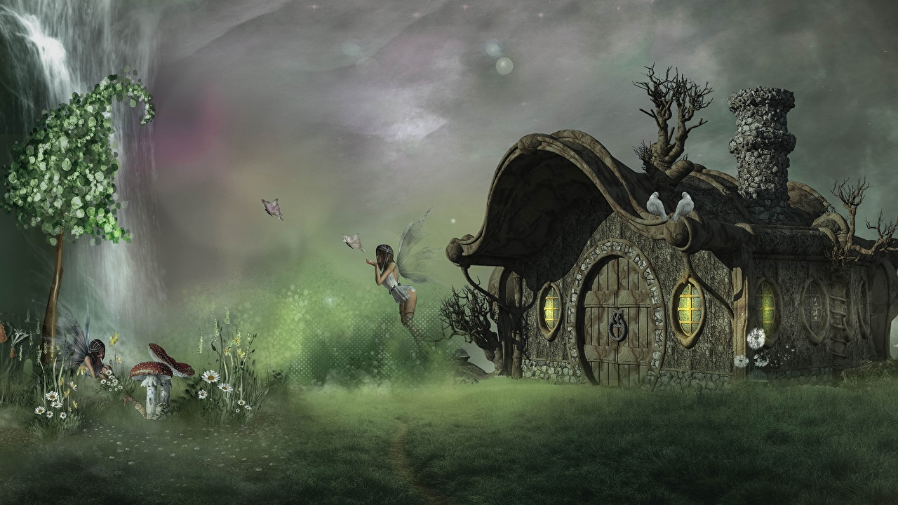 Pictures Fairies butterfly Amanita Fantasy 3D Graphics Houses Fairy Butterflies Building