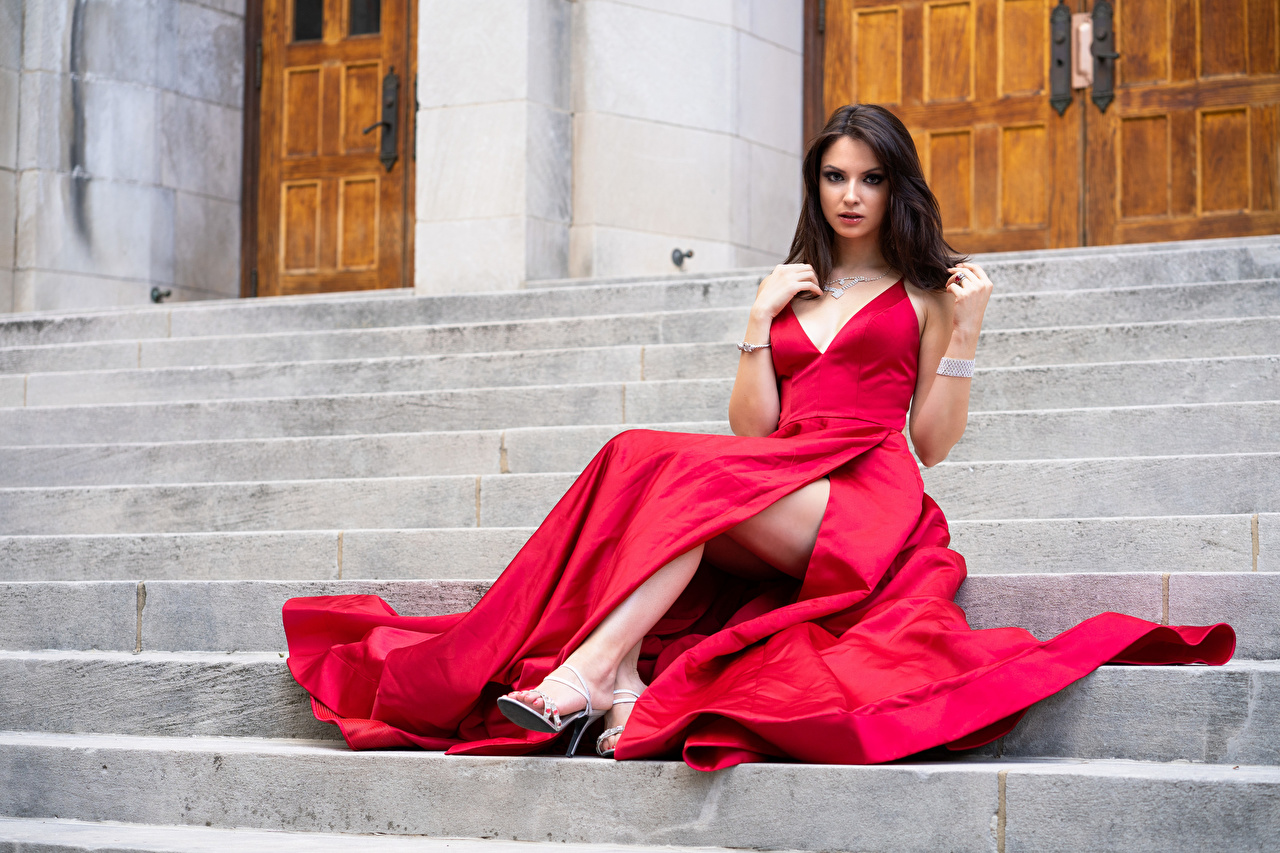 Pictures Madi Girls Stairs Sitting Glance frock female stairway staircase young woman sit Staring gown Dress