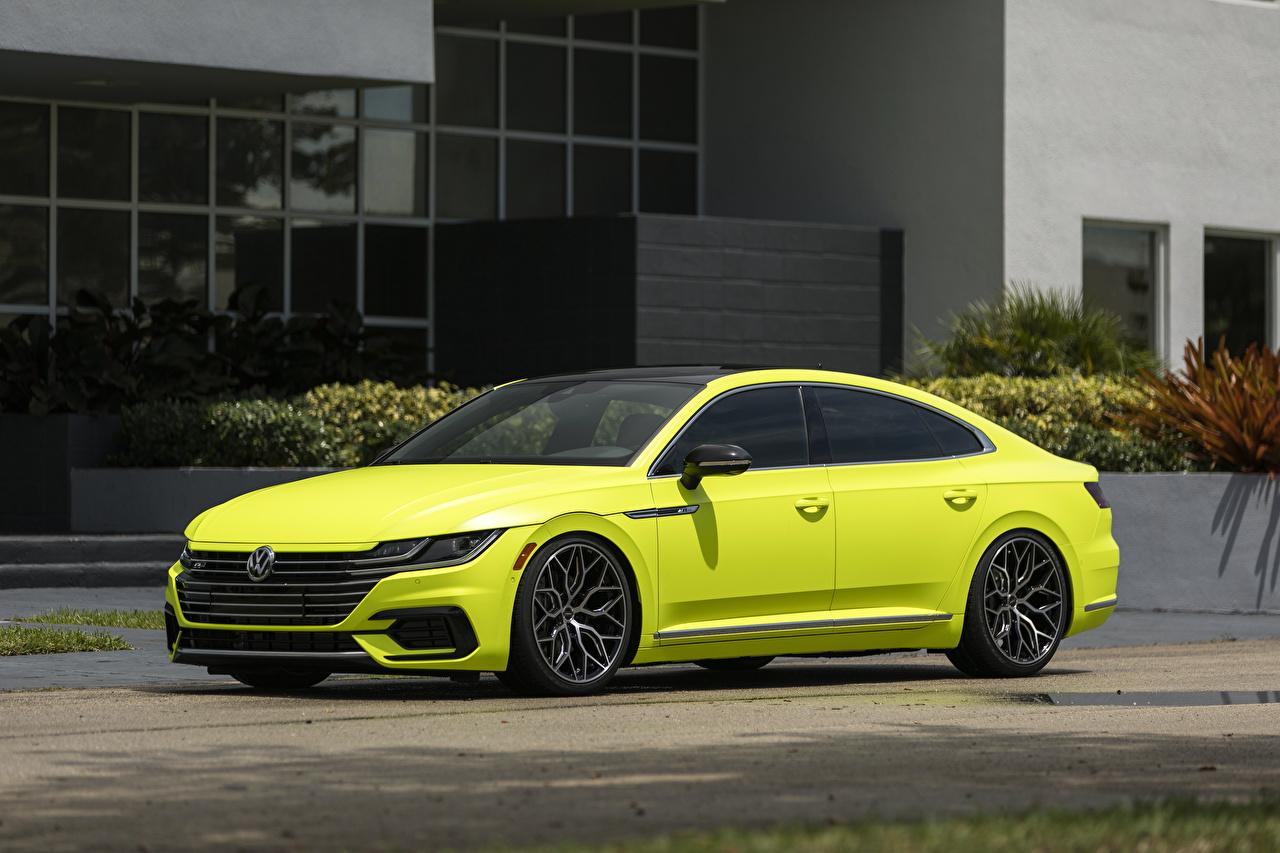 、フォルクスワーゲン、Arteon R-Line Highlight Concept 2018、側面図、黄色、メタリック塗、自動車、