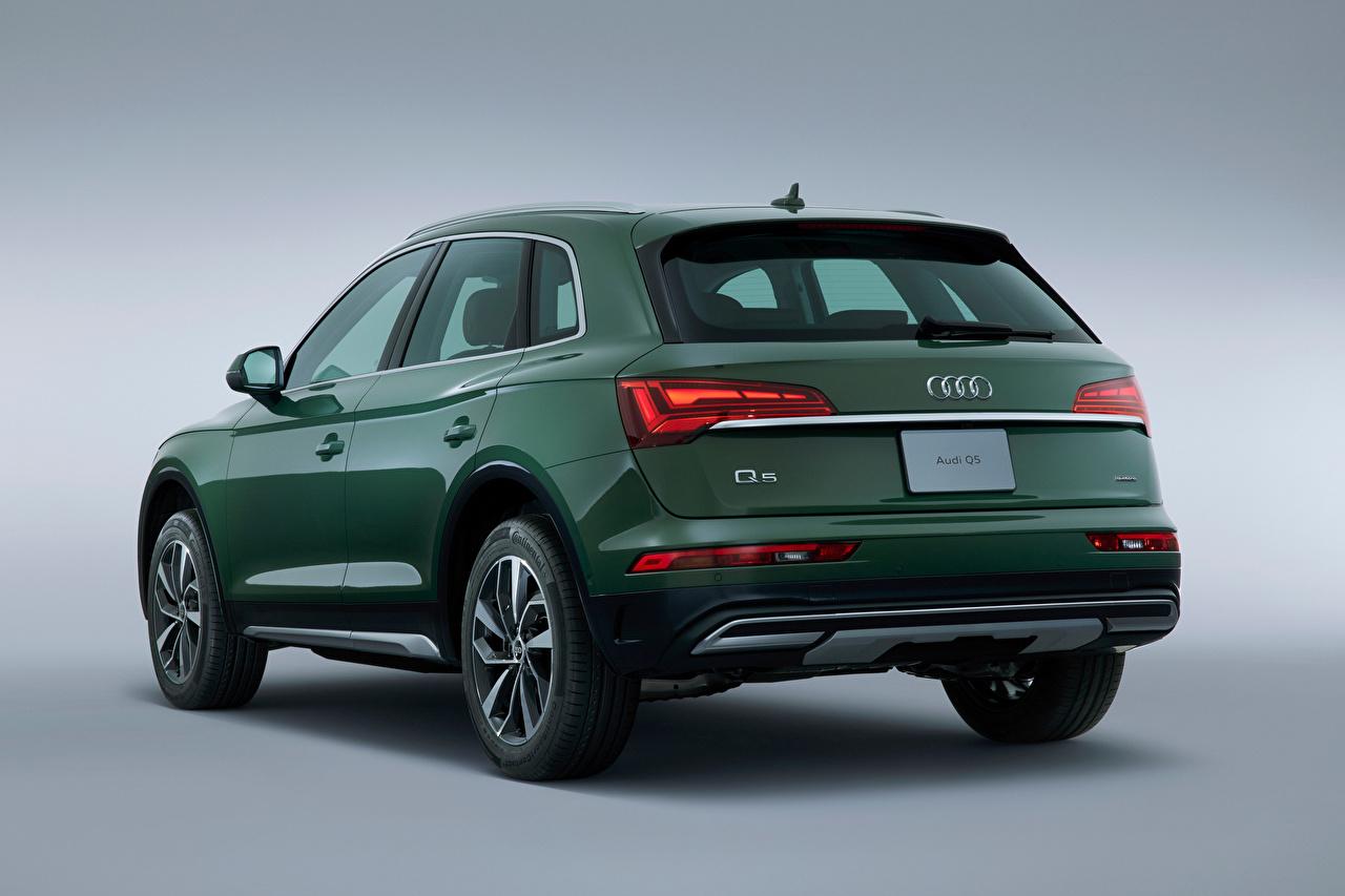 Photos Audi CUV Q5 40 TDI quattro advanced, JP-spec, 2021 Green auto Metallic Back view Gray background Crossover Cars automobile