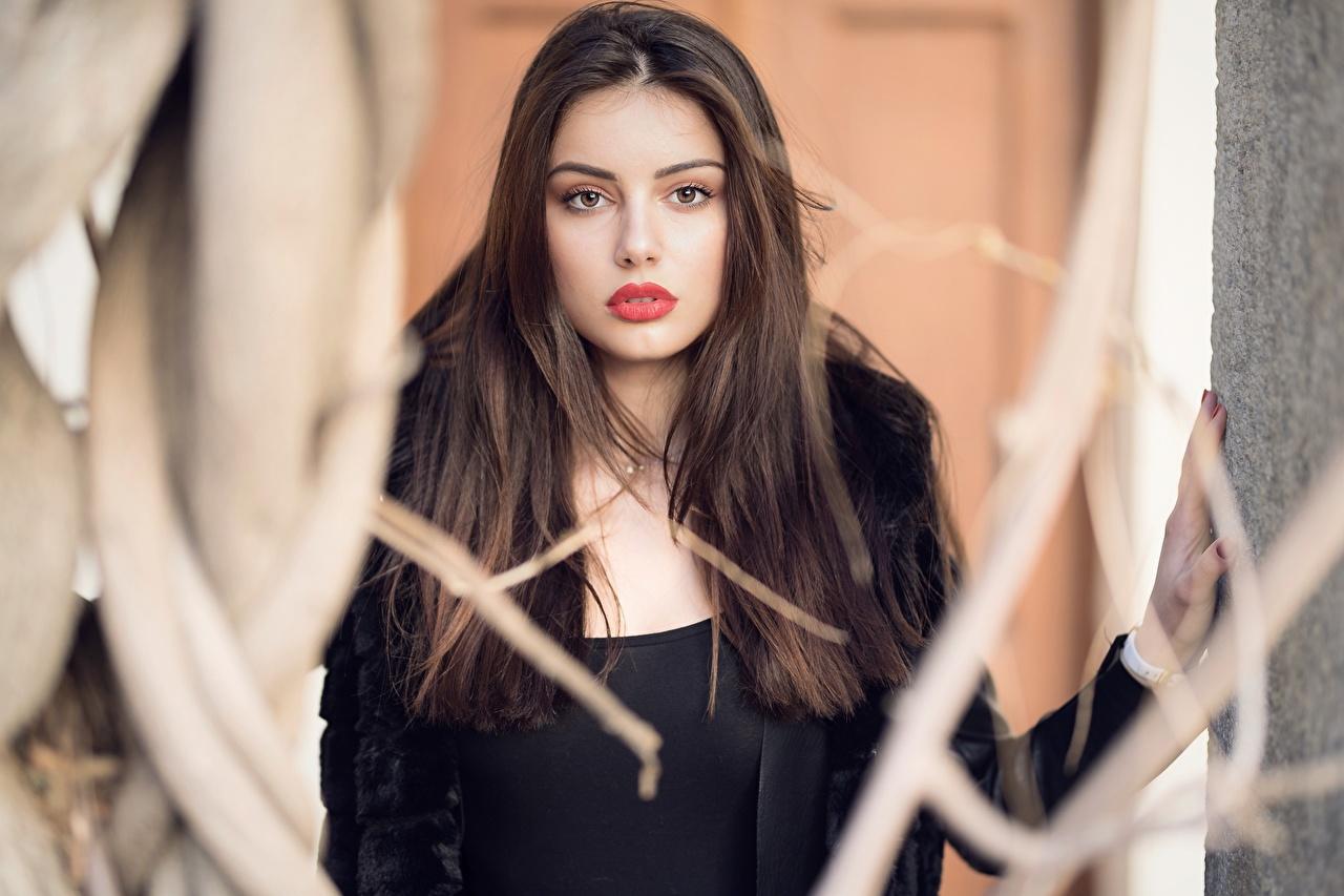 Fotos Ester Merja Braune Haare Bokeh junge Frauen Blick Braunhaarige unscharfer Hintergrund Mädchens junge frau Starren