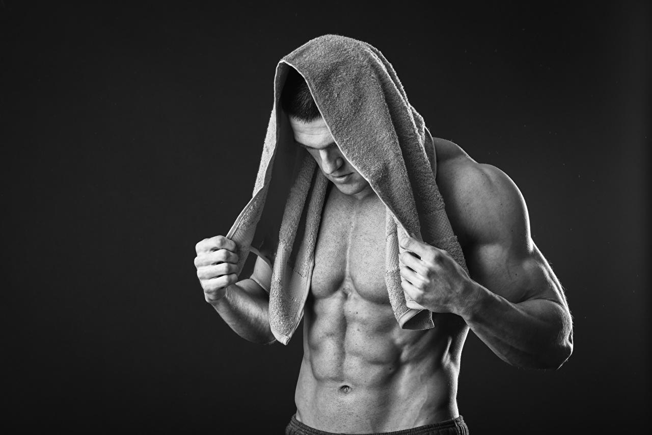 Homem Toalha Bonito Músculo Barriga Fundo preto lindo, lindos, bonita