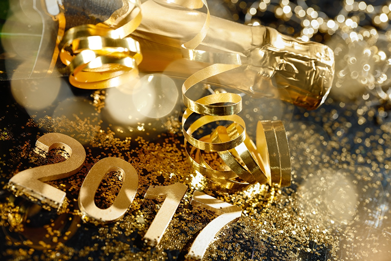 Pictures 2017 New year Gold color Sparkling wine Ribbon Holidays Christmas Champagne