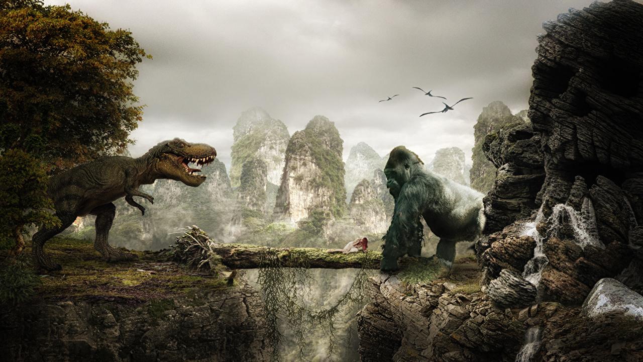 King Kong Dinosaure Singes singe, dinosaures Cinéma