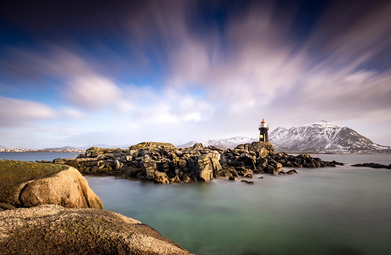 Fotos von Lofoten Norwegen Gravdal Natur Gebirge Leuchtturm Stein Wolke Berg Steine