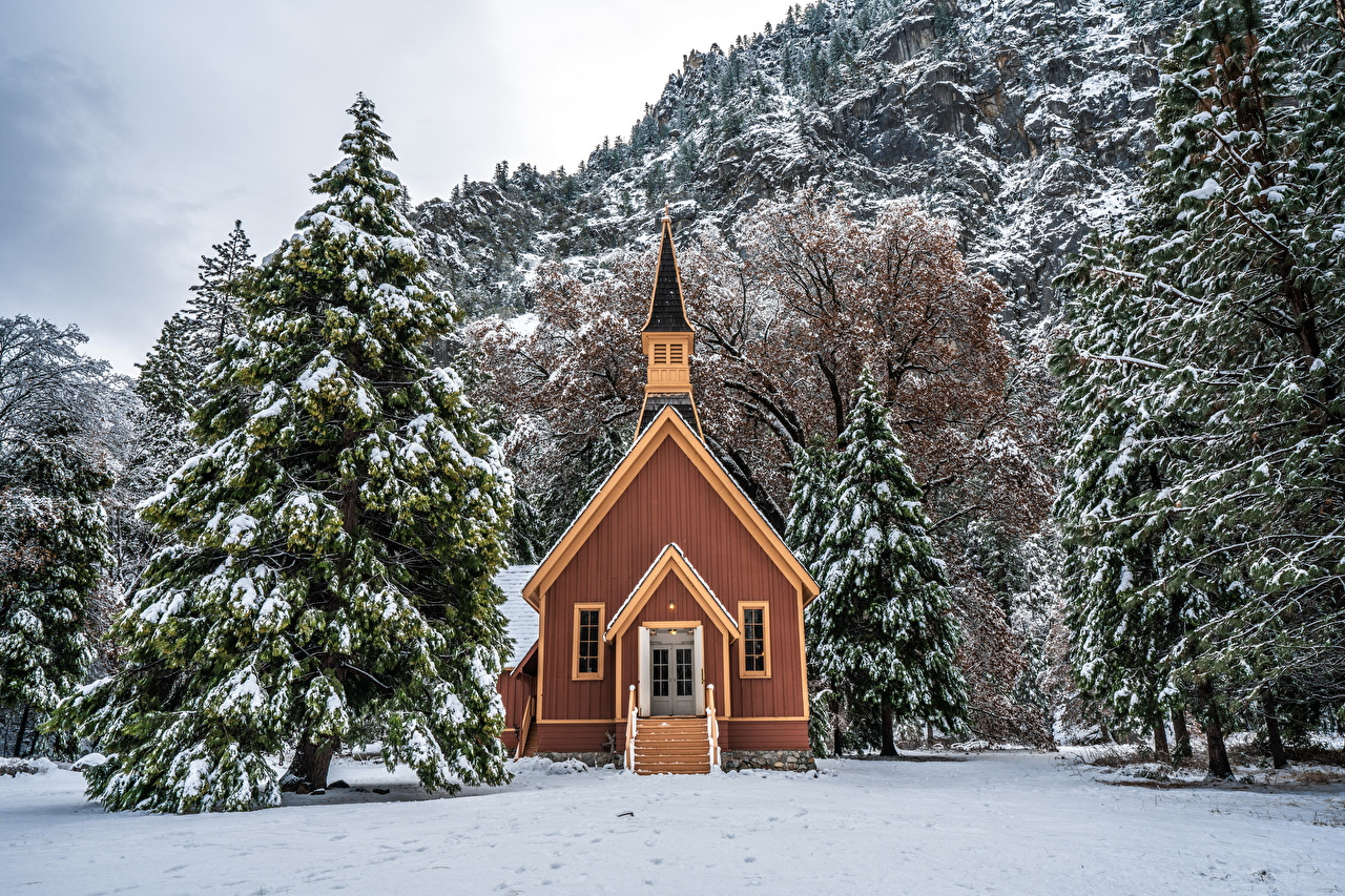 Wallpaper Yosemite USA Nature Spruce Winter Snow Parks Trees Building Houses