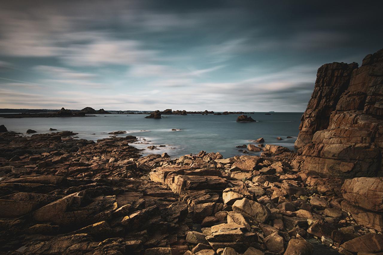 Desktop Wallpapers France Bretagne Cliff Nature Coast Stones Crag Rock stone