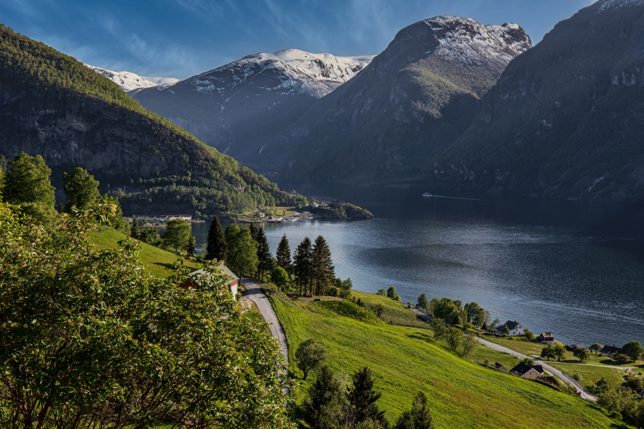 Picture Norway Aurland Nature mountain Bay Trees Mountains