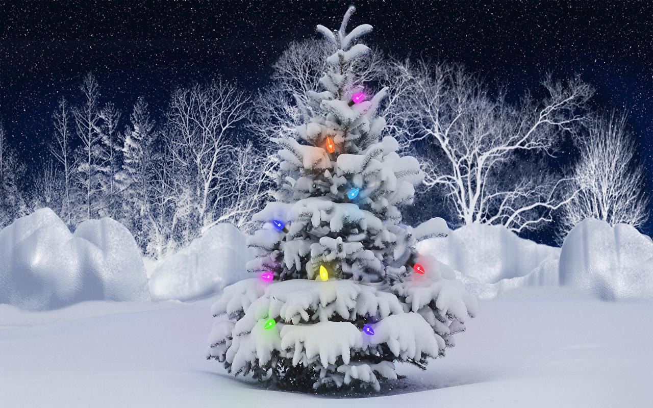 Fonds D Ecran Jour Feries Nouvel An Arbre De Noel Neige