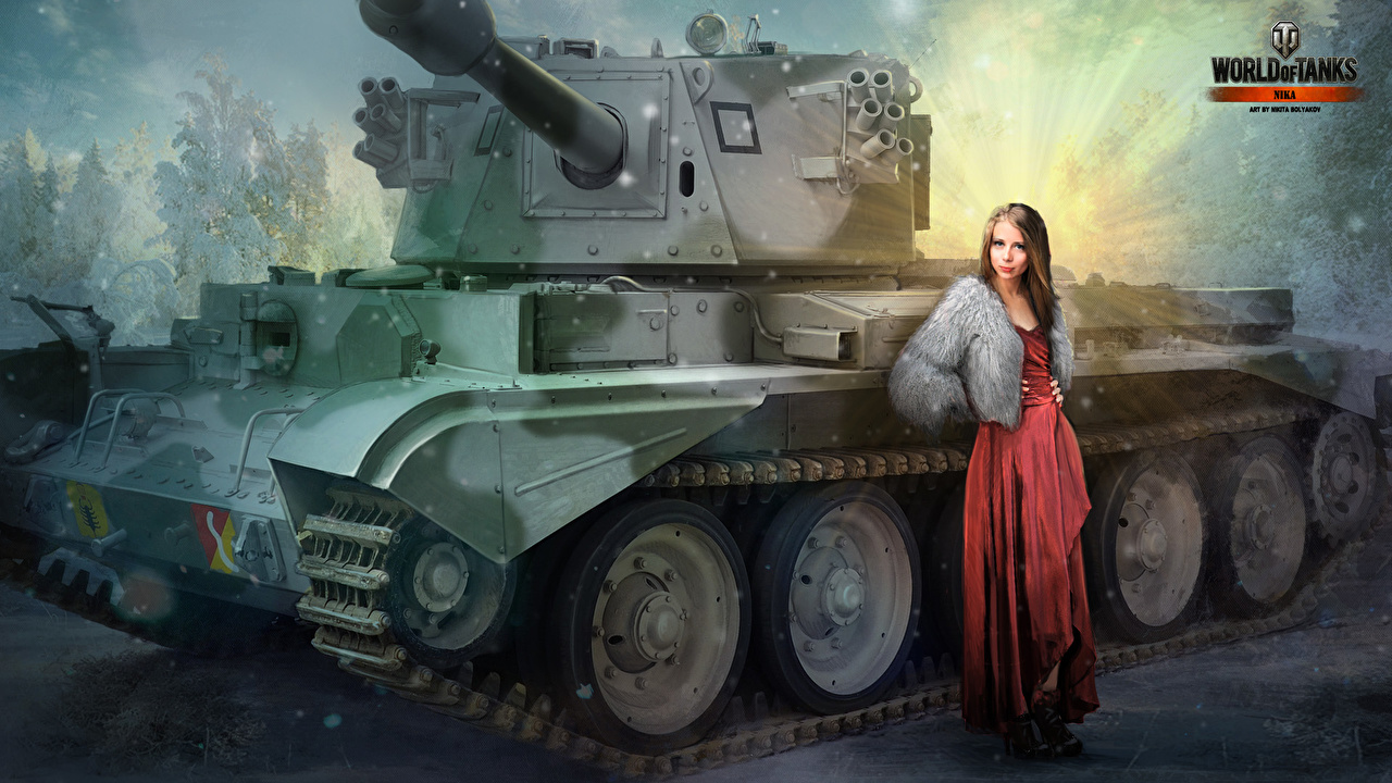 Pictures WOT Nikita Bolyakov tank Girls vdeo game Painting Art military World of Tanks Tanks female young woman Games Army