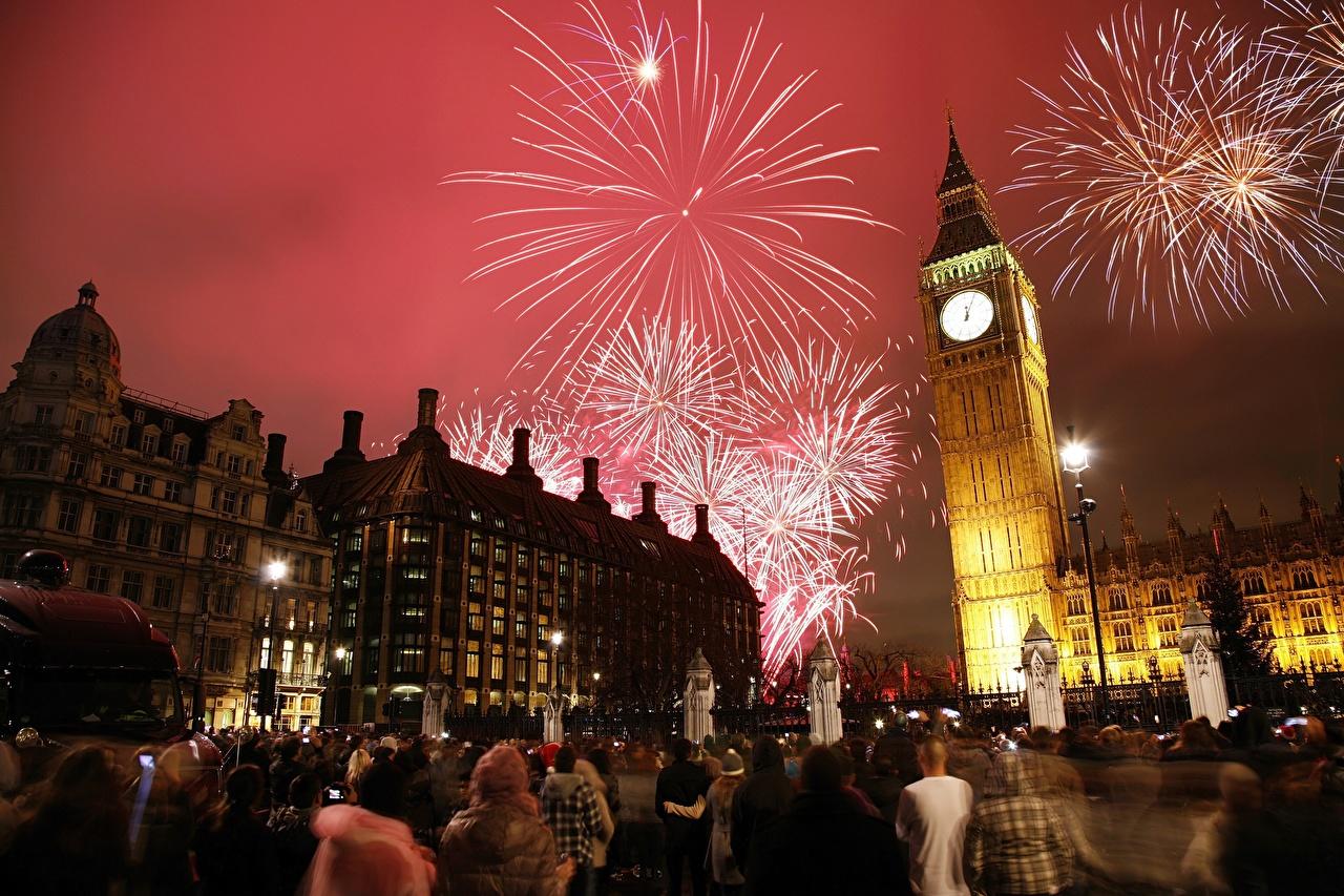 Inglaterra Feriados Fogos de artifício Relógio Londres Noite Torre Big Ben torres Cidades