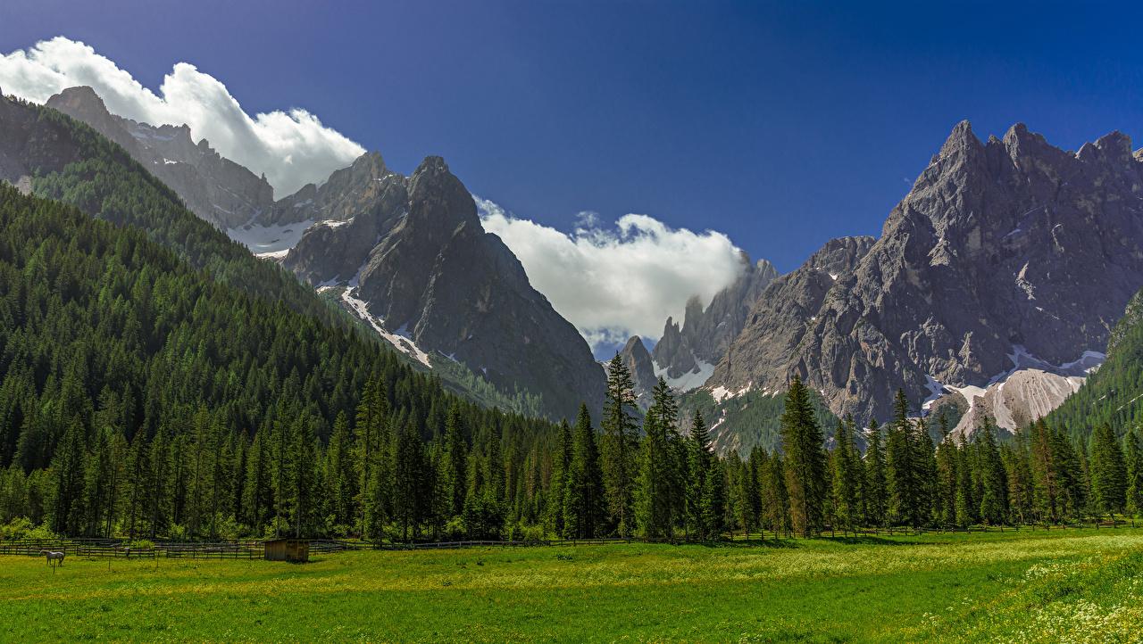Desktop Hintergrundbilder Alpen Italien Trentino-Alto Adige Berg Natur Wolke Bäume Gebirge