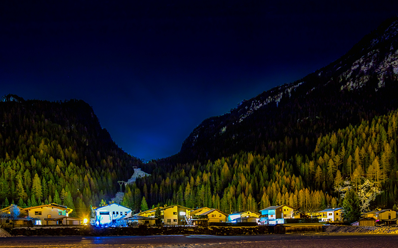 Photos Austria Huben Tyrol Nature Mountains forest night time Building mountain Forests Night Houses
