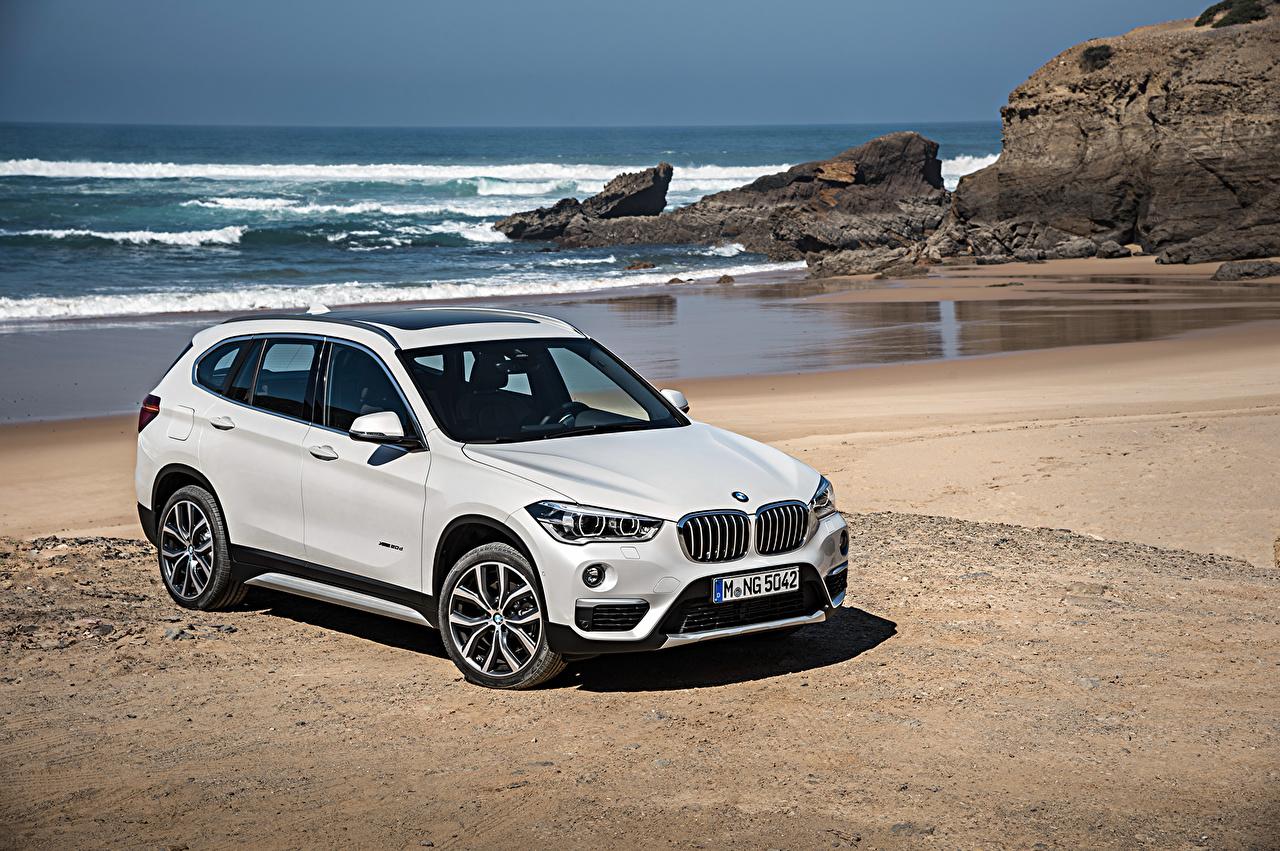 Desktop Wallpapers BMW 2015 X1 xDrive xLine F48 beaches White automobile Beach Cars auto