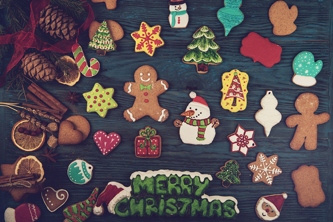 Photo New year Mittens English New Year tree Snowmen Food Cookies Conifer cone Design Wood planks Christmas Christmas tree Snowman Pine cone boards