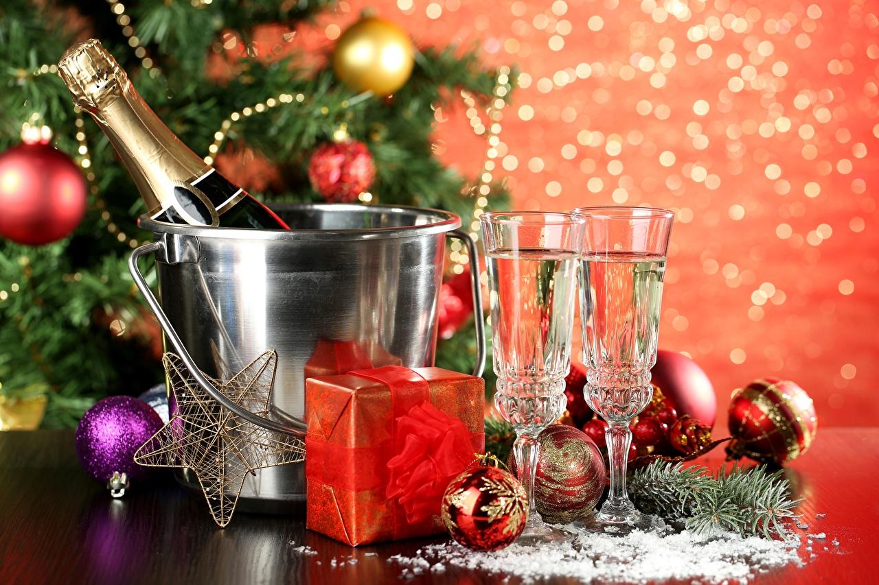 Images Christmas Star decoration Champagne Balls bottles Stemware Holidays New year little stars Sparkling wine Bottle