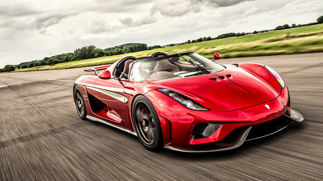 Picture Koenigsegg Regera Roadster Red driving automobile moving riding Motion at speed Cars auto