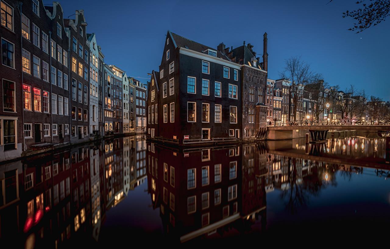 Обои канал, нидерланды, дома, ночь. Города foto 12