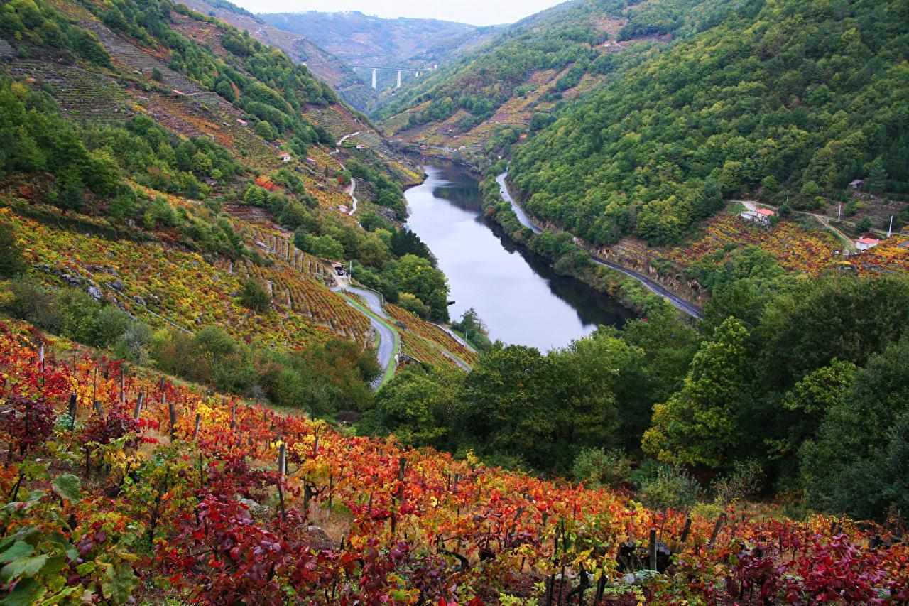 Fotos Spanien Chantada Natur Gebirge Felder Fluss Berg Acker Flusse