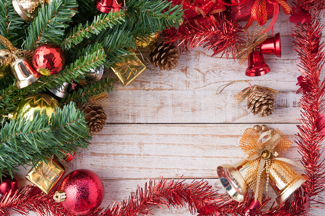 Wallpaper Christmas Balls Bells Branches Pine cone Wood planks New year Handbell Conifer cone boards