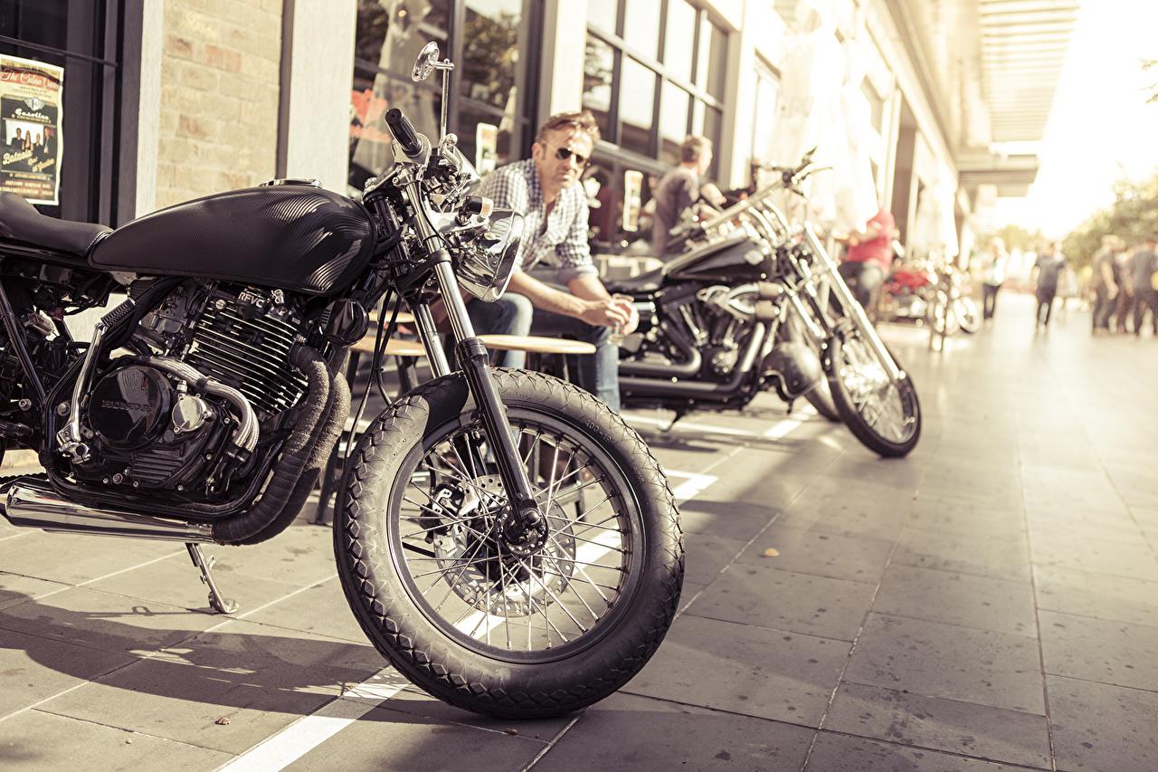 Wallpaper Honda - Motorcycles Men cafe racer Motorcycles Street Cities Man motorcycle