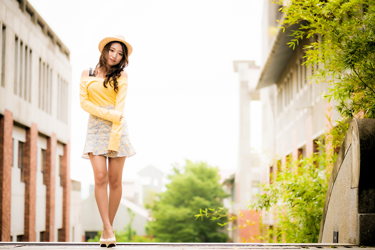 Bilder von Bokeh posiert Der Hut Mädchens Bein Asiaten Blick unscharfer Hintergrund Pose junge frau junge Frauen Asiatische asiatisches Starren
