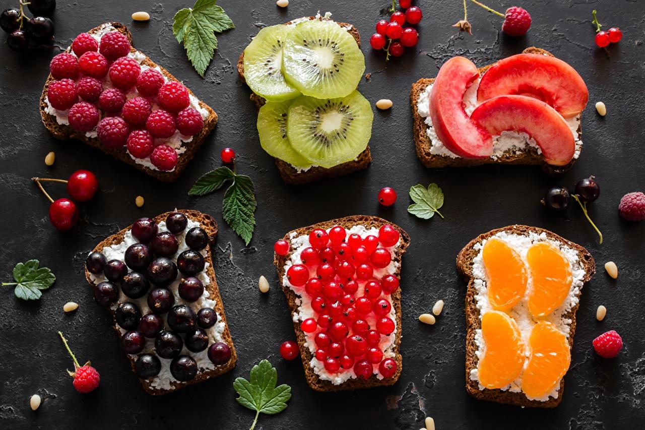Desktop Wallpapers Orange fruit Kiwi Bread Currant Peaches Raspberry Butterbrot Food Kiwifruit Chinese gooseberry