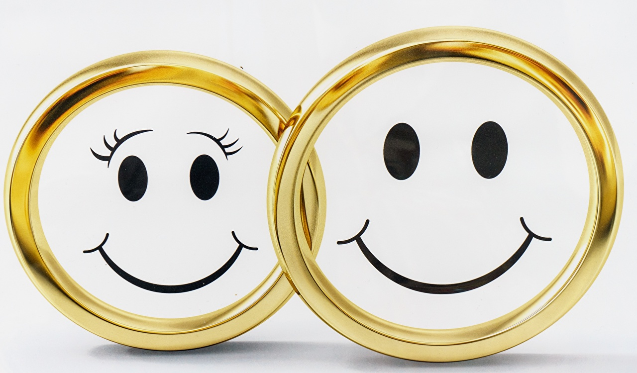 Picture Smilies Smile Two Gold color jewelry ring 2 Ring