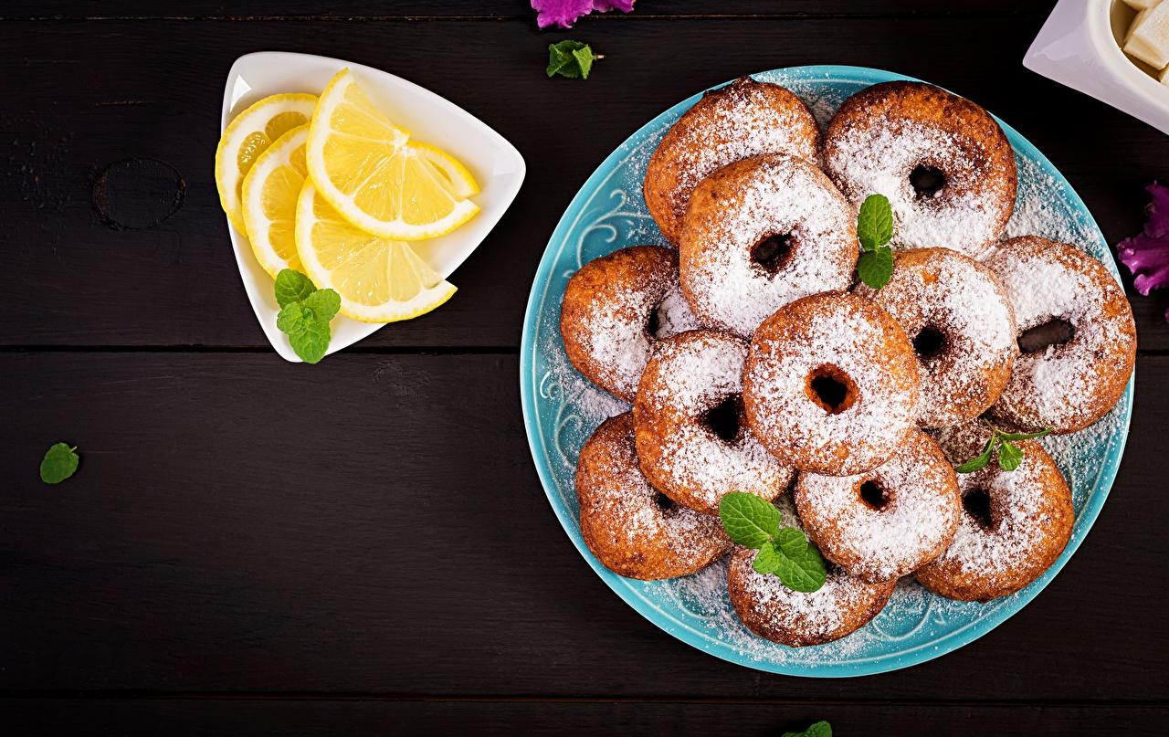 Image Doughnut Powdered sugar Lemons Food Plate Donuts