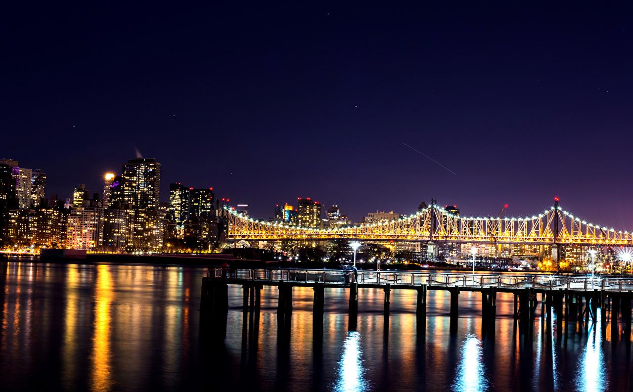 Fonds Decran Usa Maison Ponts New York Nuit Illuminations