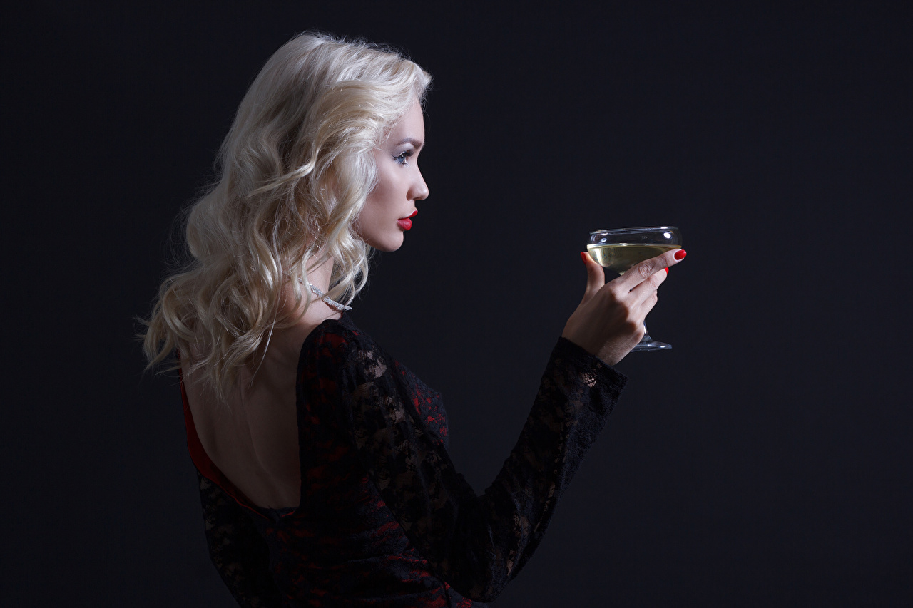 Picture Blonde girl Human back Wine Girls Hands Stemware Black background female young woman