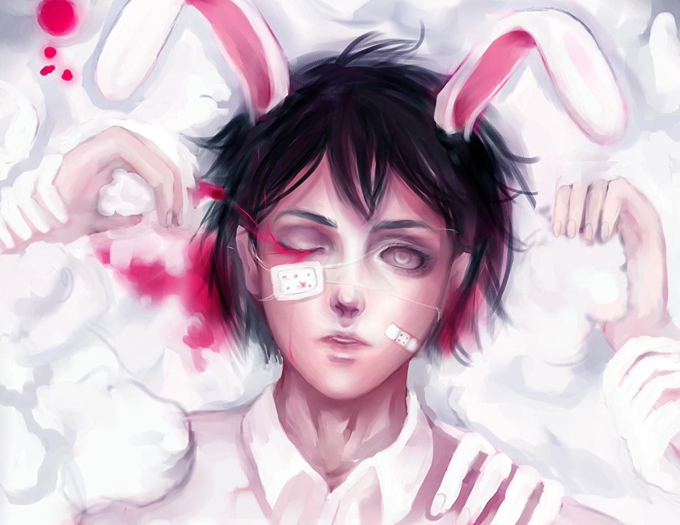 壁紙 描かれた壁紙 バニーガール アイパッチ 血 ウサギの耳