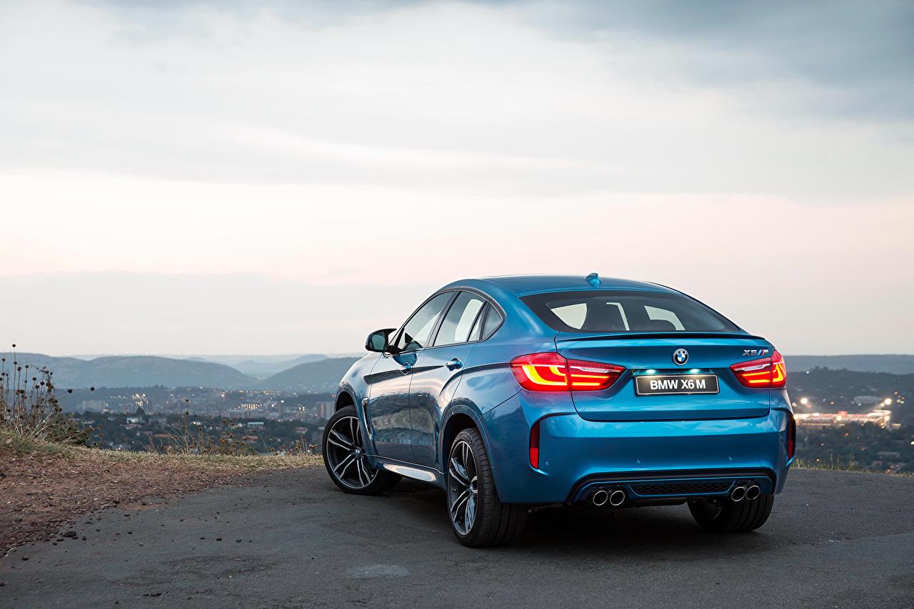 Photo BMW 2015 X6 M ZA-spec F16 Light Blue Sky auto Back view Cars automobile