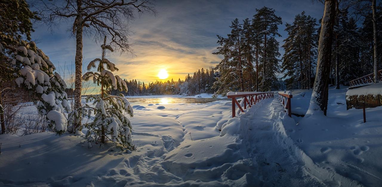 Bilder von Weg Natur Winter Brücken Schnee Sonnenaufgänge und Sonnenuntergänge Bäume