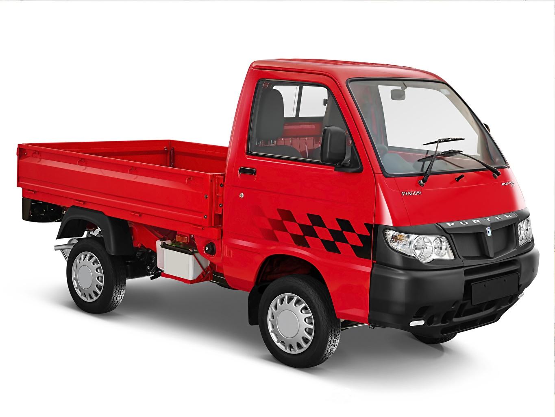 Image lorry Piaggio Porter 700 Red auto White background Trucks Cars automobile