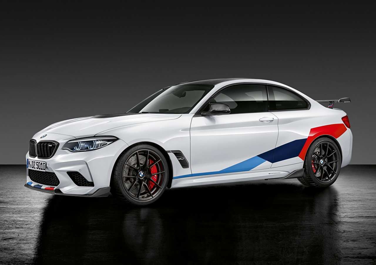Wallpaper BMW M2, M Performance, Competition, 2018 Coupe White Side Stripes Metallic automobile auto Cars