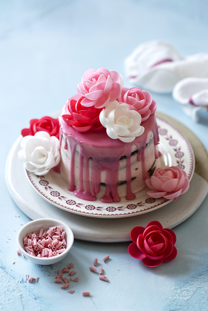 Picture Roses Torte Food Plate Sweets Design Cakes