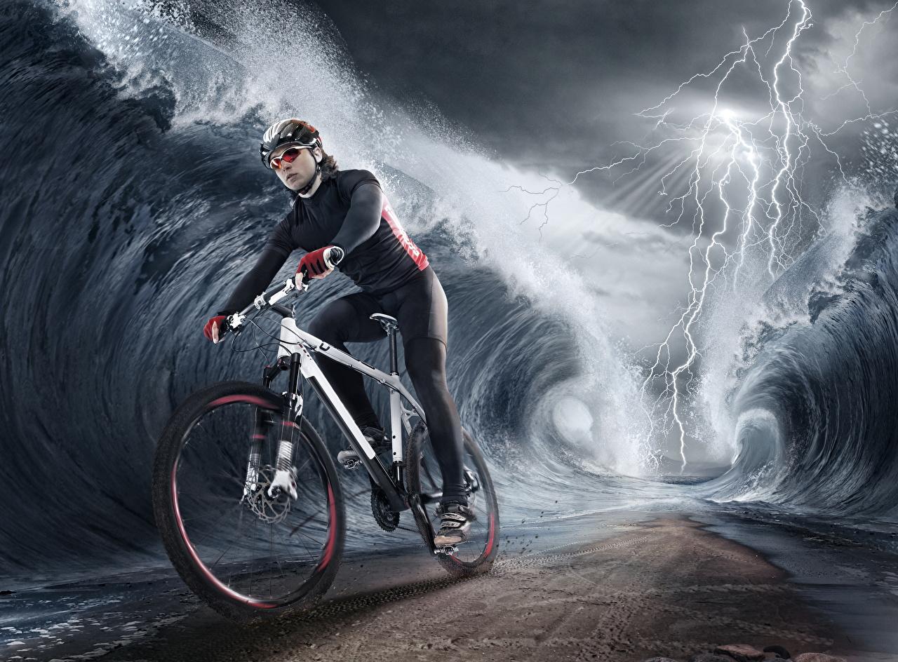 Tapeta Rower Piorun Fale kreatywny rowery Błyskawice Kreatywne oryginalne