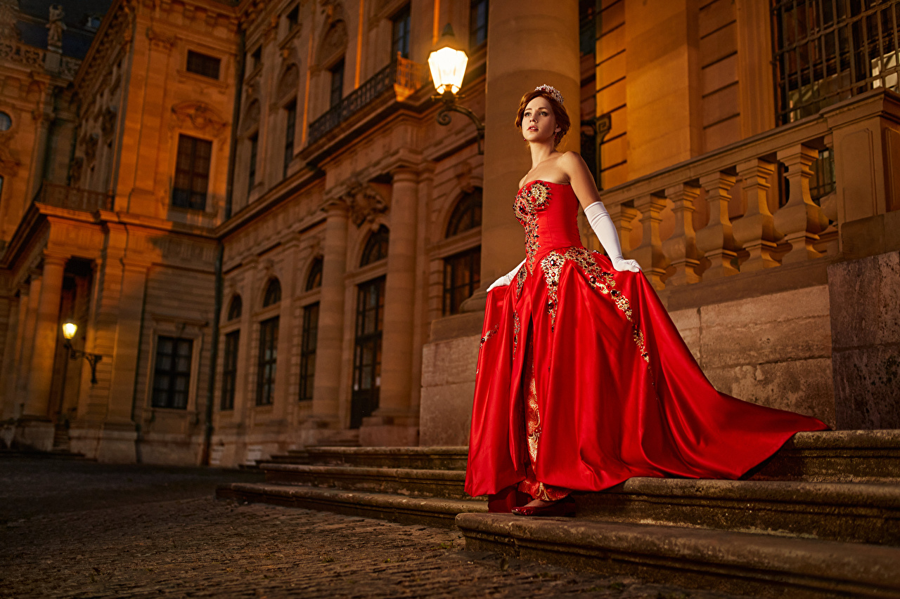 Desktop Wallpapers Mikhail Davydov photographer Palace Glove costume play Anastasia Stairs female Dress Cosplay cosplayers Girls stairway staircase young woman gown frock