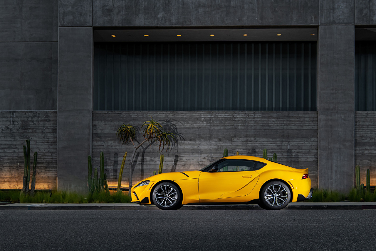 Pictures Toyota GR Supra 2.0 North America, (A90), 2020 Yellow Side Metallic automobile Cars auto
