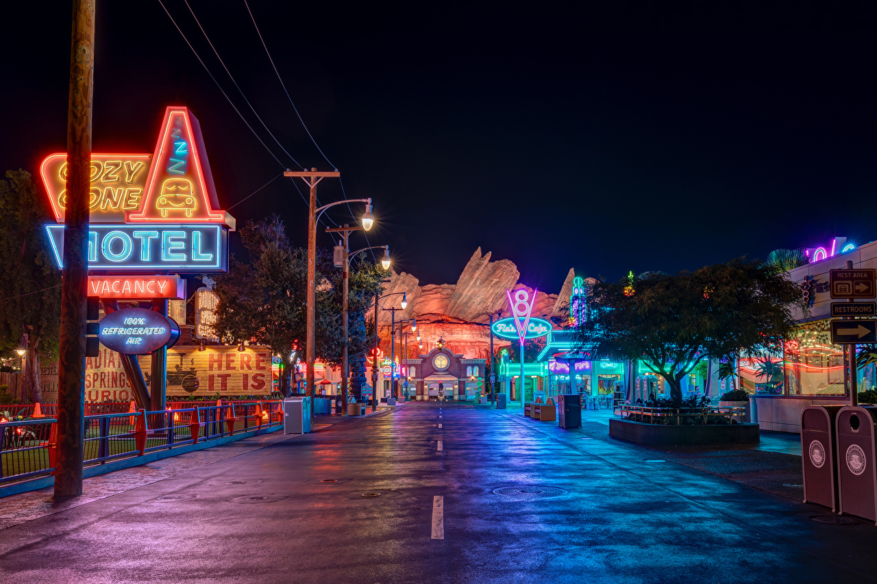 Images Anaheim California Disneyland USA HDR Roads Parks Night Street lights Cities Houses Design HDRI night time Building