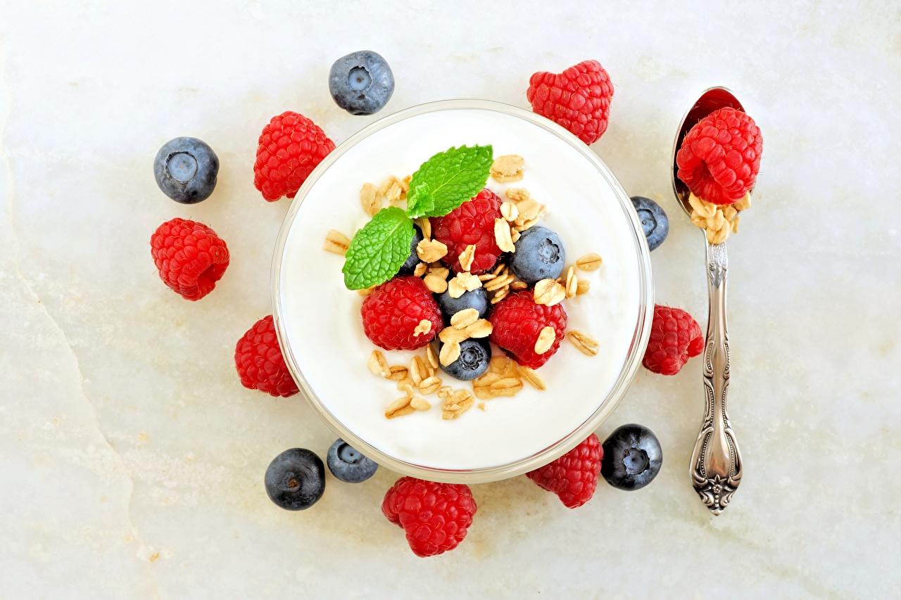 Images Yogurt Raspberry Blueberries Food Muesli