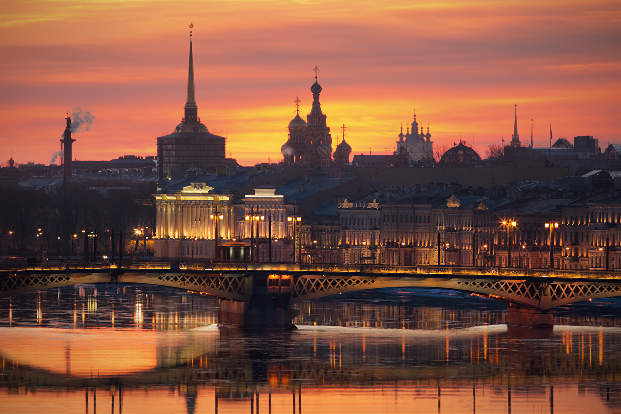 Pictures St. Petersburg Russia Neva bridge sunrise and sunset river Evening Cities Bridges Sunrises and sunsets Rivers