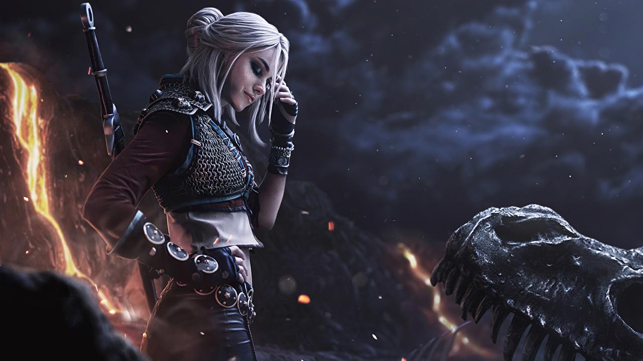 Bilder The Witcher 3: Wild Hunt Schwert Blond Mädchen Krieger Handschuh unscharfer Hintergrund Fantasy junge frau computerspiel Hand Blondine Bokeh Mädchens junge Frauen Spiele