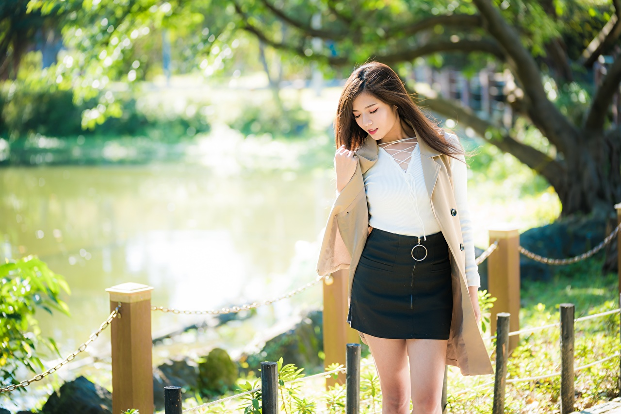 Wallpaper Skirt Brown haired Bokeh Girls Asiatic blurred background female young woman Asian